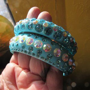 Blue Lucite and Rhinestone Bangles
